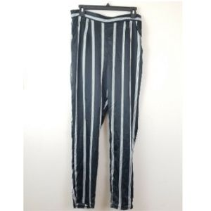 Missguided Black Striped Satin Cigarette Trouser